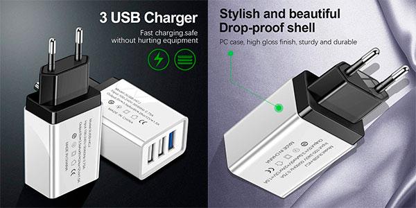 Chollo Enchufe cargador USB de 3 puertos Victorig