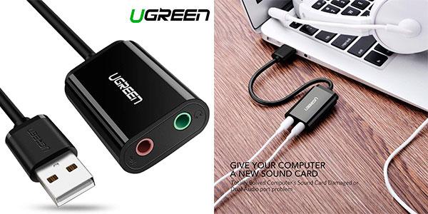 Chollo Tarjeta de sonido externa USB Ugreen