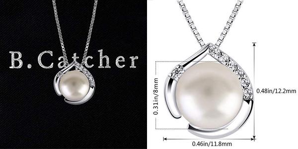 Collar B.Catcher de Plata de Ley 925 con colgante de perla y circonitas para mujer chollazo en Amazon
