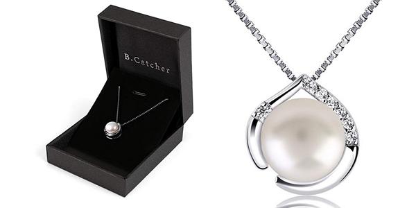 Collar B.Catcher de Plata de Ley 925 con colgante de perla y circonitas para mujer barato en Amazon