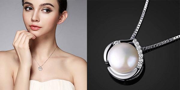Collar B.Catcher de Plata de Ley 925 con colgante de perla y circonitas para mujer chollo en Amazon