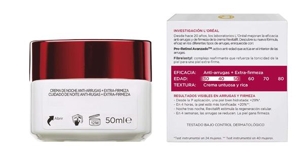 Crema de noche Antiarrugas L'Oreal Paris Revitalift Dermo Expertise con Pro-Retinol de 50 ml chollo en Amazon