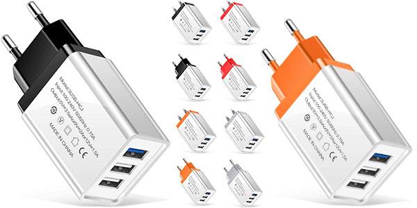 Enchufe cargador USB de 3 puertos Victorig en oferta