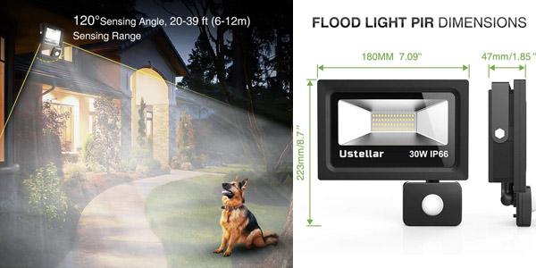 Foco LED Exterior Ustellar de 30W con Sensor de Movimiento chollo en Amazon