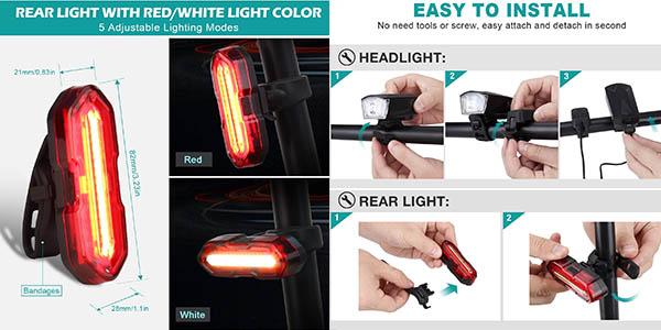 luces de seguridad para bicicleta Omeril relación calidad-precio estupenda