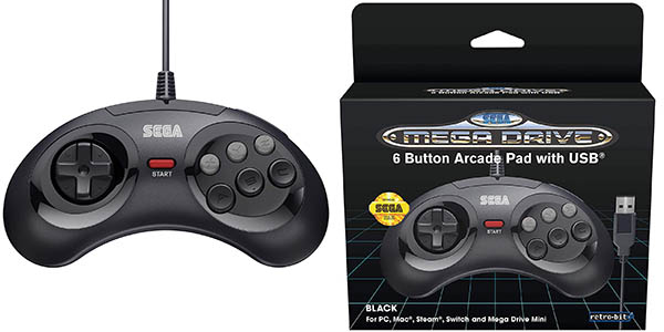 Mando Mini Retro-Bit con 6 botones para SEGA Mega Drive Mini en Amazon