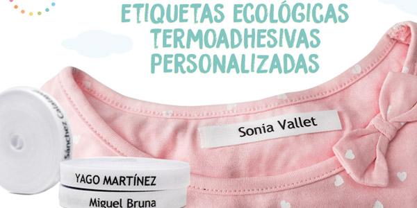 Pack de 100 etiquetas de tela personalizadas termoadhesivas para marcar la ropa baratas en Amazon