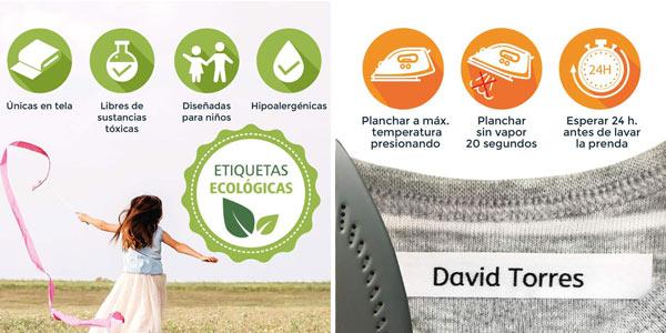 Pack de 100 etiquetas de tela personalizadas termoadhesivas para marcar la ropa chollo en Amazon