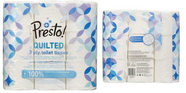 Pack 36 rollos de papel higiénico Amazon Presto! de 3 capas acolchado en oferta en Amazon