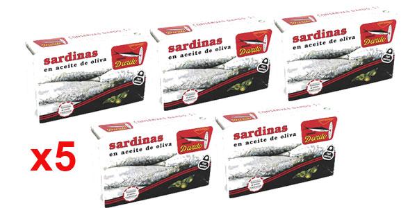 Pack x5 latas Dardo Sardinas en Aceite de Oliva 118gr/ud barato en Amazon