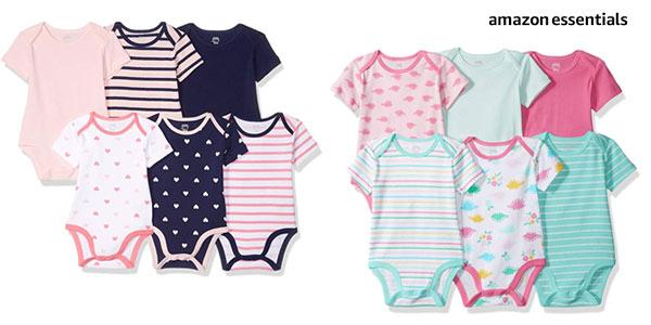 Pack de 6 bodis de algodón Amazon Essentials para bebé baratos en Amazon