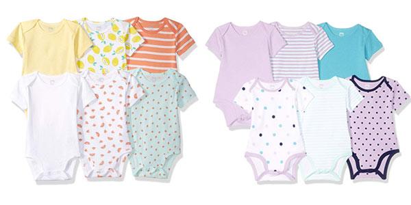 Pack de 6 bodis de algodón Amazon Essentials para bebé en oferta en Amazon