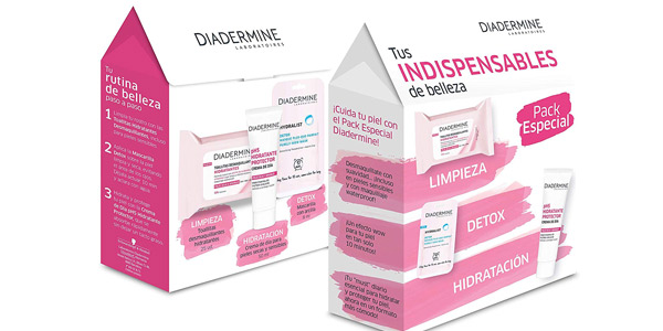 Pack Diadermine Essentials con Toallitas Hidratantes + Mascarilla Detox + Crema de Día Hidratante barato en Amazon