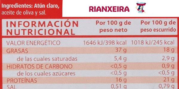 Pack x24 Latas Atún Claro Rianxeira en aceite de oliva de 80 g barato