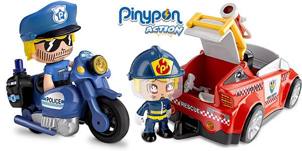 Packs Pinypon Action de bombero, moto bombero, policía y espía