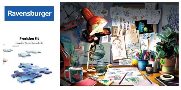 Puzle 1000 piezas Ravensburguer Disney Pixar the Artist's Desk barato en Amazon