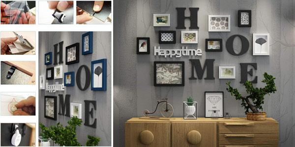 Pack de 10 marcos de foto collage + letras de decoración para pared barato en Amazon