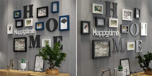 Pack de 10 marcos de foto collage + letras de decoración para pared chollazo en Amazon