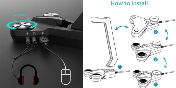 Soporte Auriculares dodocool iseño Gaming con luz LED y sonido envolvente 7.1 chollo en Amazon