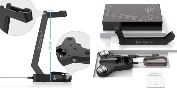 Soporte Auriculares dodocool iseño Gaming con luz LED y sonido envolvente 7.1 chollazo en Amazon