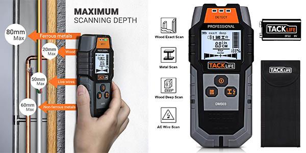 Tacklife DMS03 detector de pared para distancias y cables oferta