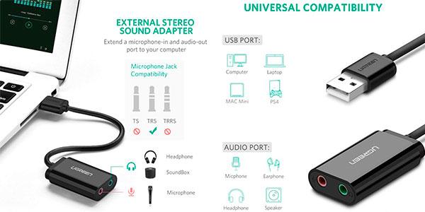 Tarjeta de sonido externa USB Ugreen barata