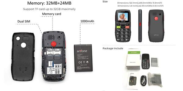 Teléfono móvil para mayores Artfone C1 Senior con teclas grandes y botón SOS chollazo en Amazon