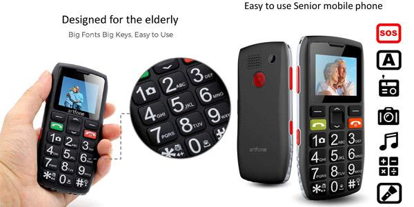 Teléfono móvil para mayores Artfone C1 Senior con teclas grandes y botón SOS barato en Amazon