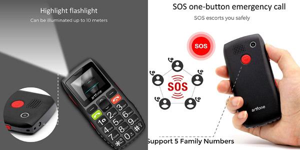 Teléfono móvil para mayores Artfone C1 Senior con teclas grandes y botón SOS chollo en Amazon