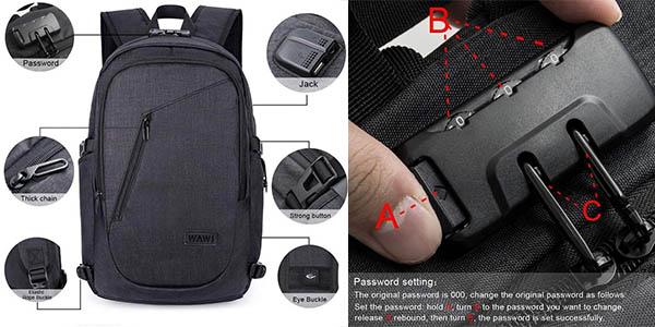WAWJ mochila para ordenador portátil con puerto USB chollo