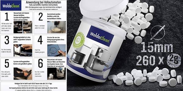 260 Pastillas para la limpieza de cafeteras automáticas WoldoClean chollo en Amazon