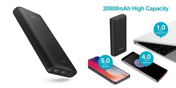 Batería externa Charmast Powerbank 20800 mAh en oferta en Amazon