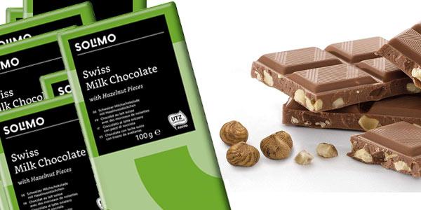 Pack 12 tabletas chocolate con leche suizo Amazon Solimo barato