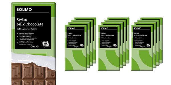 Pack 12 tabletas chocolate con leche suizo Amazon Solimo en oferta