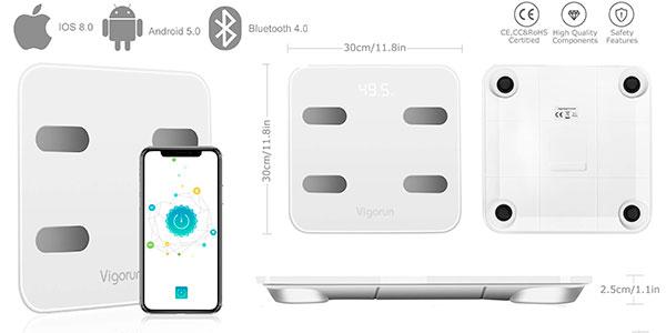 Báscula digital Vigorun con 17 indicadores corporales y Bluetooth barata