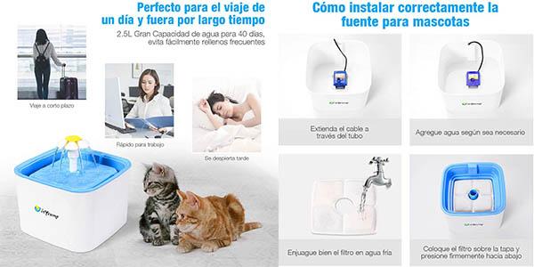bebedero fuente de gran capacidad isYoung para gatos chollo