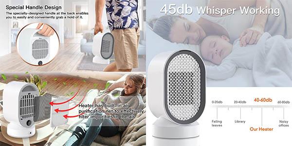 calefactor eléctrico de aire Uvistare con cupón descuento Amazon