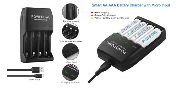 Pack de cargador Powerowl con 4 pilas AA y 4 pilas AAA en oferta en Amazon