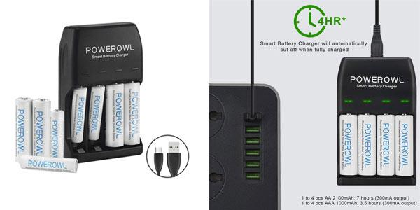 Pack de cargador Powerowl con 4 pilas AA y 4 pilas AAA barato en Amazon