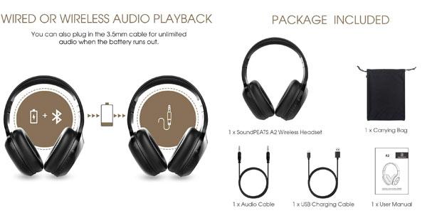 Cascos Bluetooth SoundPEATS A2 Upgrade en oferta en Amazon