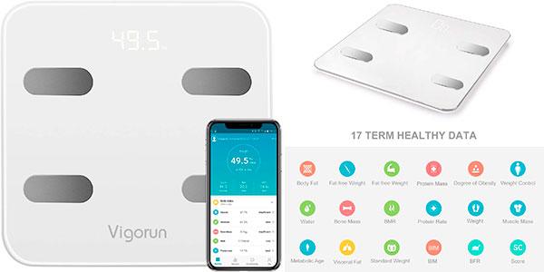 Chollo Báscula digital Vigorun con 17 indicadores corporales y Bluetooth