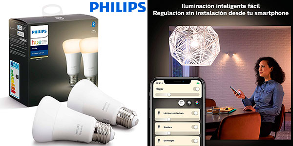 Chollo Pack de 2 bombillas LED inteligentes Philips Hue White