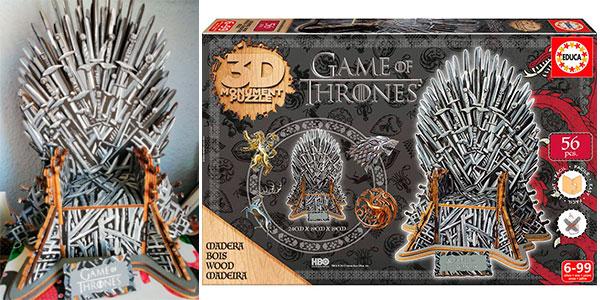 Chollo Puzle 3D de madera Trono de Hierro de Juego de Tronos