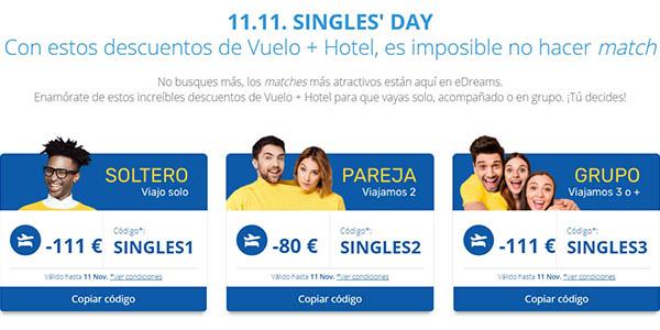eDreams Singles Day código descuento viajes