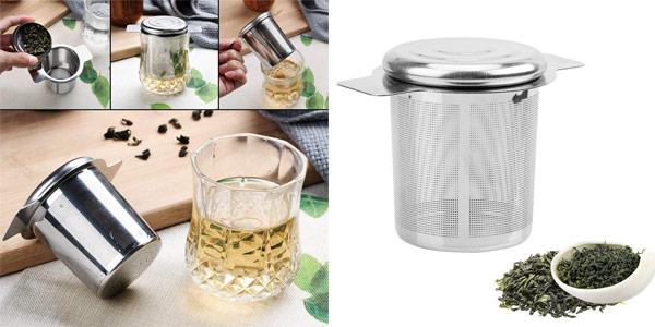 Colador de té o café reutilizable iTimo con 2 Asas y Tapa de Acero Inoxidable barato en Amazon