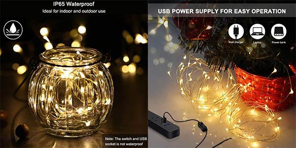 guirnalda de luces LED Weehey con cupón descuento en Amazon