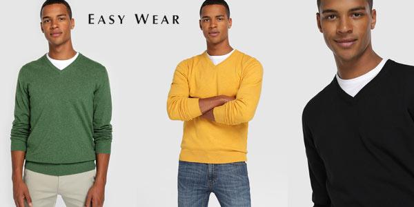 Jersey de punto y cuello de pico básico Easy Wear barato en El Corte Inglés