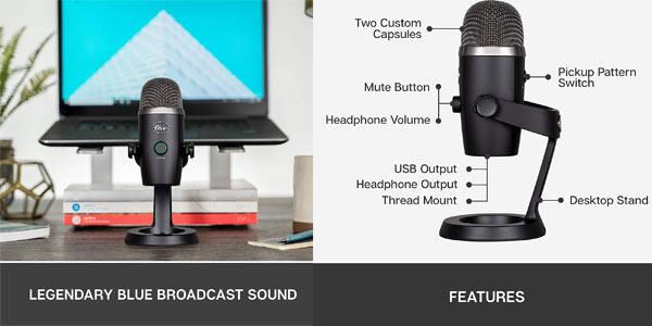 Micrófono USB condensador profesional Blue Yeti Nano en oferta en Amazon