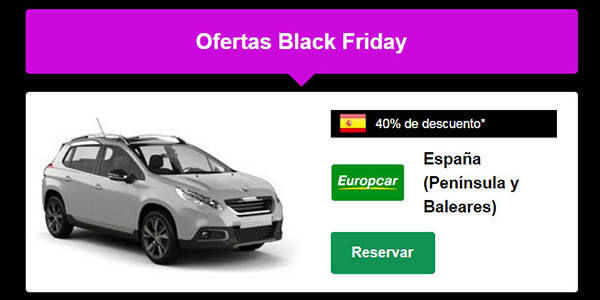 ofertas en coches de alquiler Rentalcars Black Friday 2020