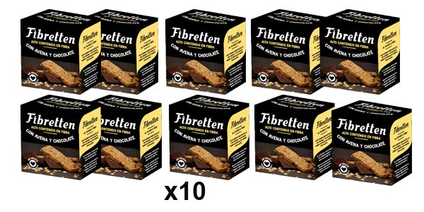 Pack x10 Fibretten Galletas Avena y Chocolate de 240 gr/ud barato en Amazon